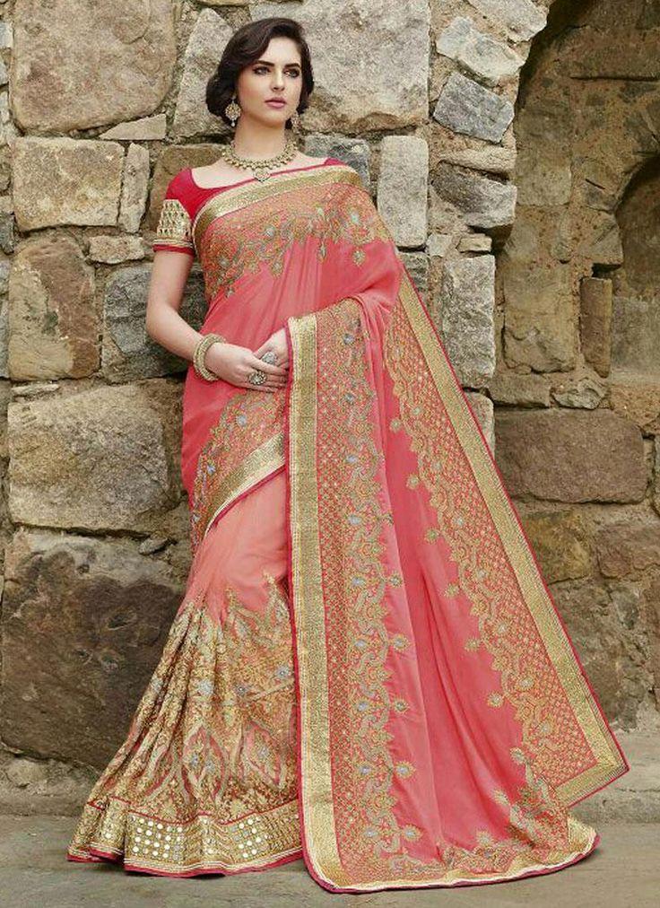 Girlish Faux Crepe Pink Embroidered Work Designer Saree