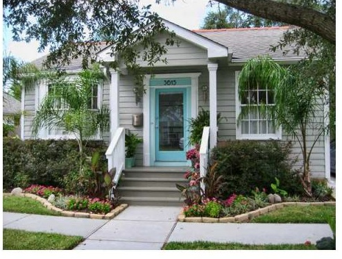 Love The Grey Siding Turquoise Amp Glass Door White Trim