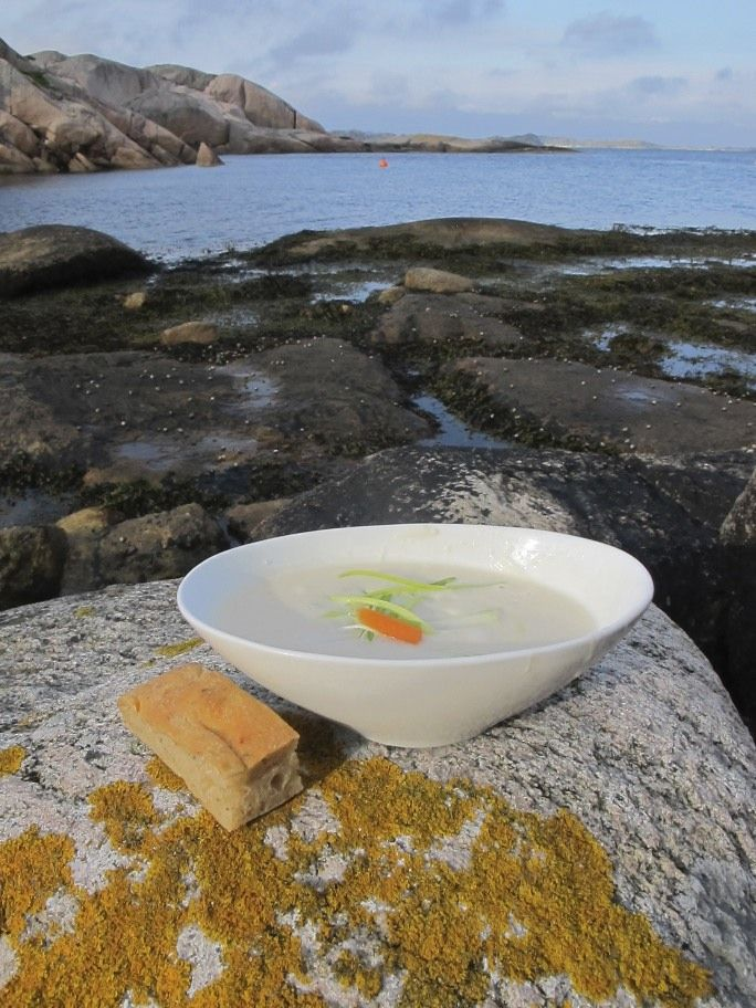 Fish soup served at Ryvingen lighthouse outside Mandal, Norway  Photo: Visit Sørlandet