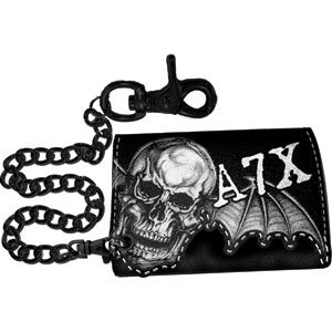 Avenged Sevenfold - Wallets - Leather Biker Tri-fold. Embroidered A7X Logo With Death Bat Winged Skull/Diagonal Logo With Stitched Bat Wings (Import) Made Of Genuine Leather. Wallet Snaps Shut And Comes With 15 Inch Chain Attatched To A Leather Snap Strap.
