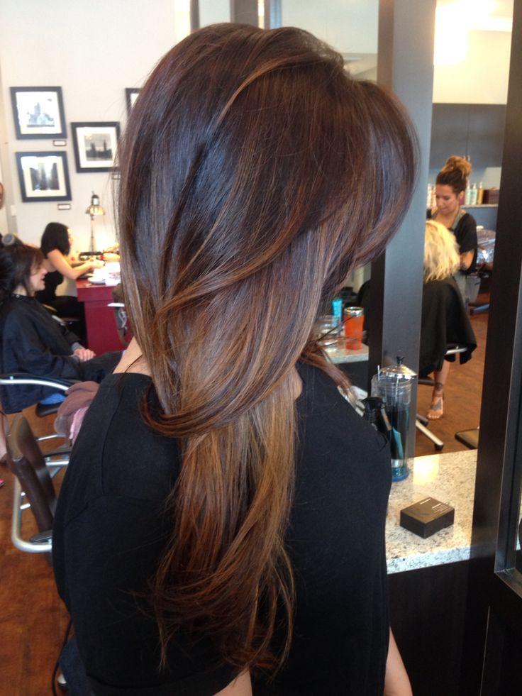 Beautiful balayage highlights on straightened brunette hair 2015