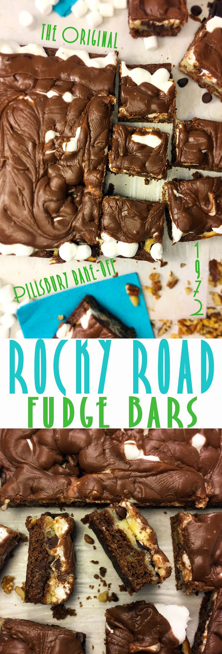 Original 1972 Pillsbury Bake Off Recipe! Rocky Road Fudge Bars ** #Fudge #Bars! #rockyroad #fudge #Pillsbury #bakeoff #original #brownie