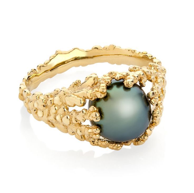 """Ornella Iannuzzi """"Coralline Reef"""" ring with with a Tahitian pearl, set in gold (from £1,500)"""