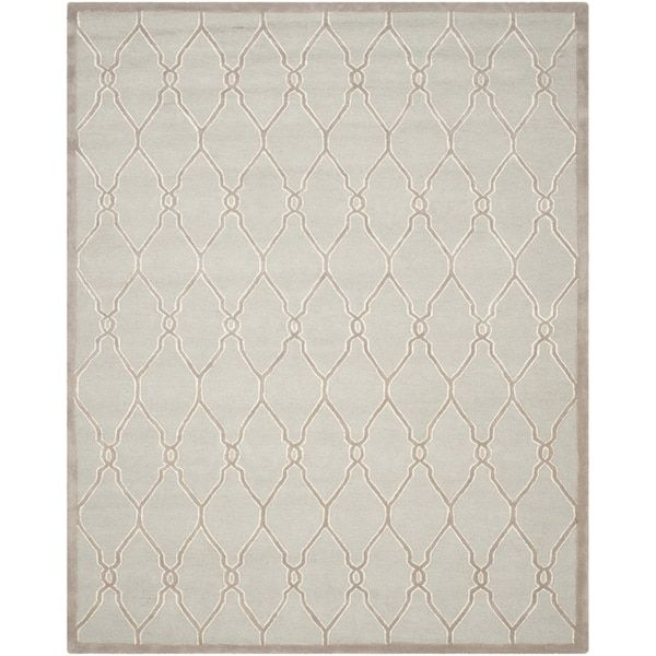 Safavieh Handmade Cambridge Light Grey Ivory Wool Rug 10 X 14