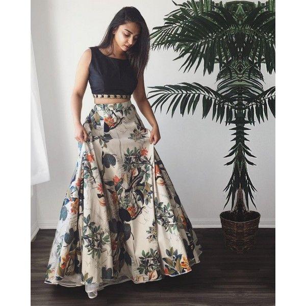 Crepe Silk Floral Print Multicolour Semi Stitched Lehenga - Jk4