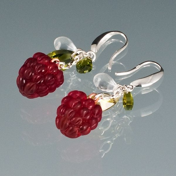 "Red Raspberry Earrings With Cubic Zirconia ""Leaves"""