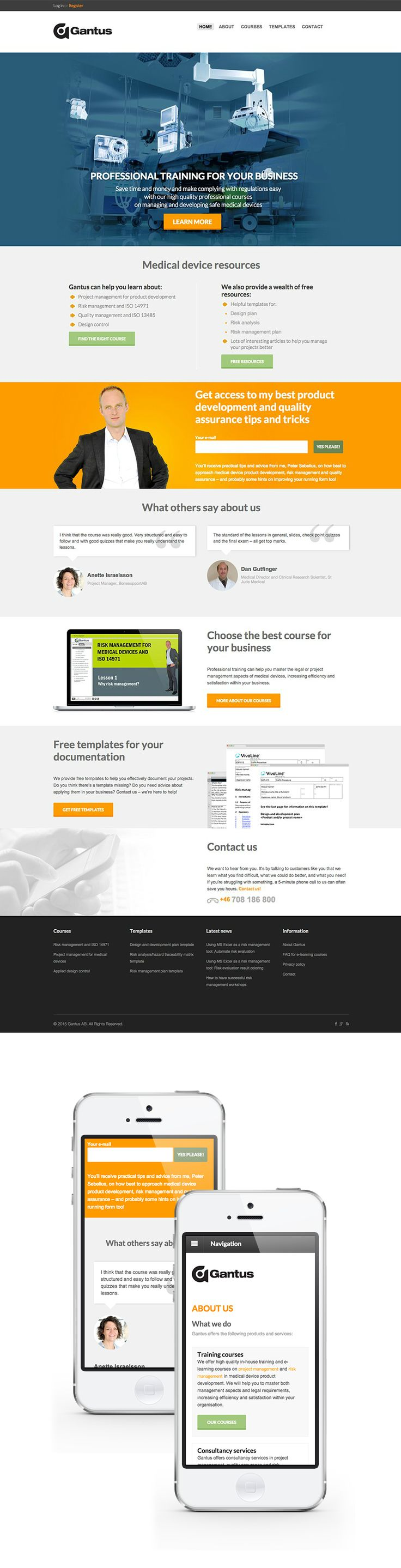 For Gantus we've applied conversion-centric approach and did a lot to optimize sales process. Core back-end is powered with WooCommerce and modified Wordpress theme. We've powered up and customized WooCommerce with additional plugins. Finally, the website is integrated with Wistia and Litmos elearning management system. Visit site: gantus.com