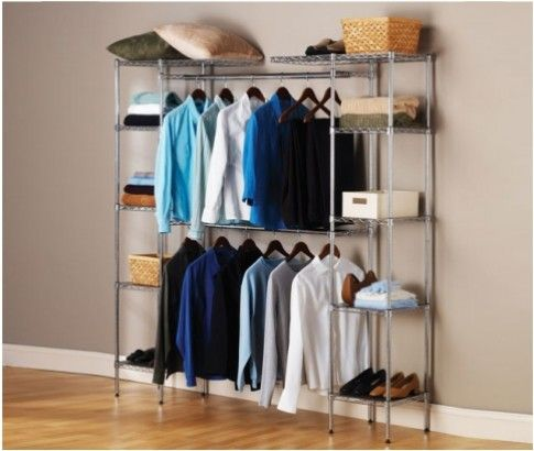 Chrome Wardrobe Closet Organiser & Storage Rack. This stylish storage rack made of heavy duty chromed steel can be used for various types of storage: bedroom, office, laundry, garage, basement and more. #Ikoala offers at just $139.00.