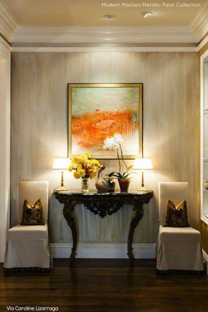 Moderns Masters Metallic Paints in a Vertical Strie Finish | By Caroline Lizarraga