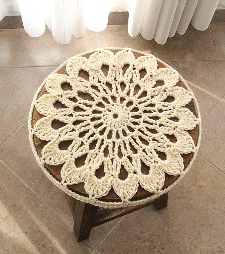 113 best chrochet easy doily images on pinterest crochet patterns crocheted doily stool cover is quick and simple dt1010fo