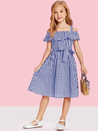 62437e35e0f249 Girls Flounce Cold Shoulder Gingham Dress with Belt -SheIn(Sheinside ...