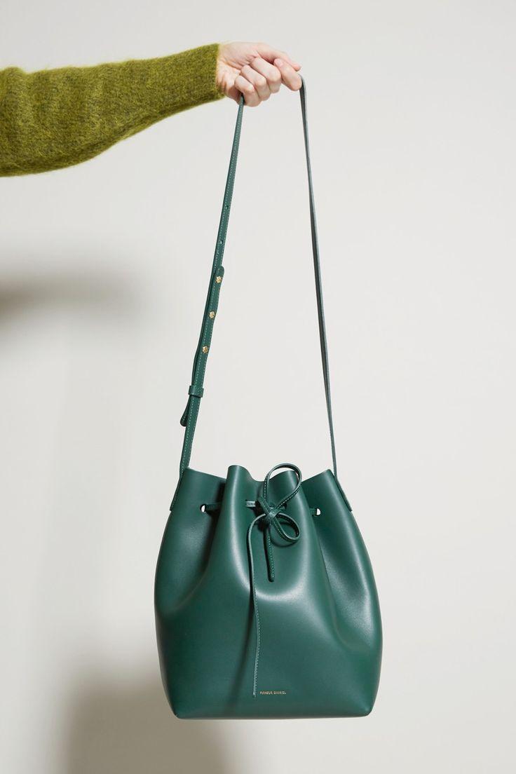 Mansur Gavriel Bucket Bag, Moss Calf Leather
