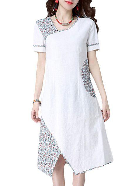 Folk Floral Color Patchwork Short Sleeve Women Dresses