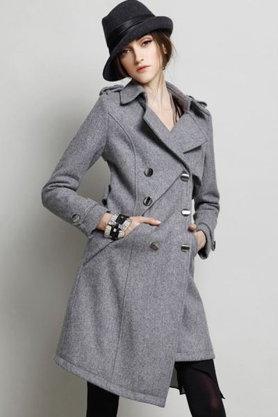 Irregular Double-breasted Wool-blend Coat OASAP.com