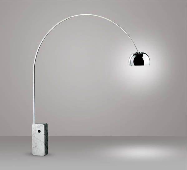 Flos - Arco (1962). Design by Achille & Pierre Giacomo Castiglioni. Marble, stainless steel, aluminum.