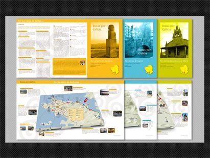 { Rutas por Galicia } GUÍAS TURÍSTICAS. Diseño editorial y maquetación. Trípticos informativos en serie.