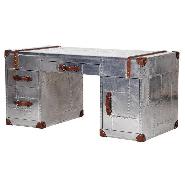 Aluminium and leather edged desk. Stunning example of fine craftmanshio £1899.99