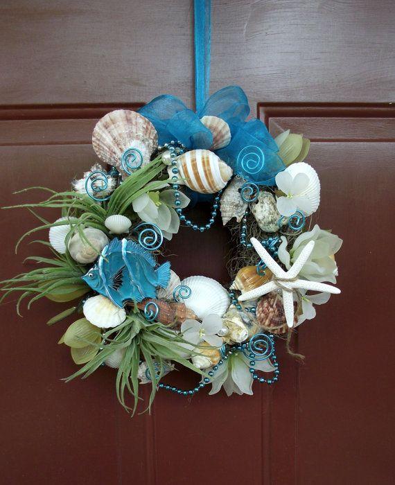 Adorable florist made sea shell beach wreath, nautical wreath, fish wreath, coastal wreath, wall decor, blue wreath, aqua wreath