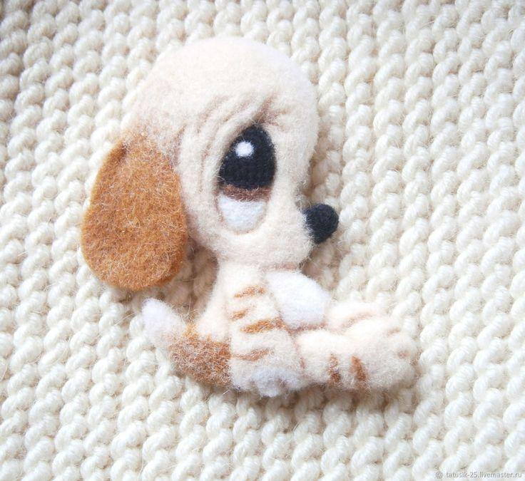 Купить Валяная брошь Собачка - бежевый, подарок, украшение, собачка, аксессуар, валяная брошь