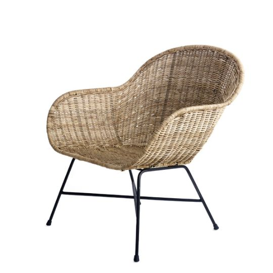 <div>Natural and modern aesthetics are woven seamlessly together in our Ormond chairs. Hand woven rattan takes on a classic midcentury-modern shape in the seat, while the matte black iron legs add an industrial accent. These versatile chairs are as appropriate around a formal dining table as in a casual patio setting. Natural rattan should not be left exposed outdoors when not in use. To clean, vacuum any dust or particles with a soft brush attachment and wipe clean with a soft, damp c...