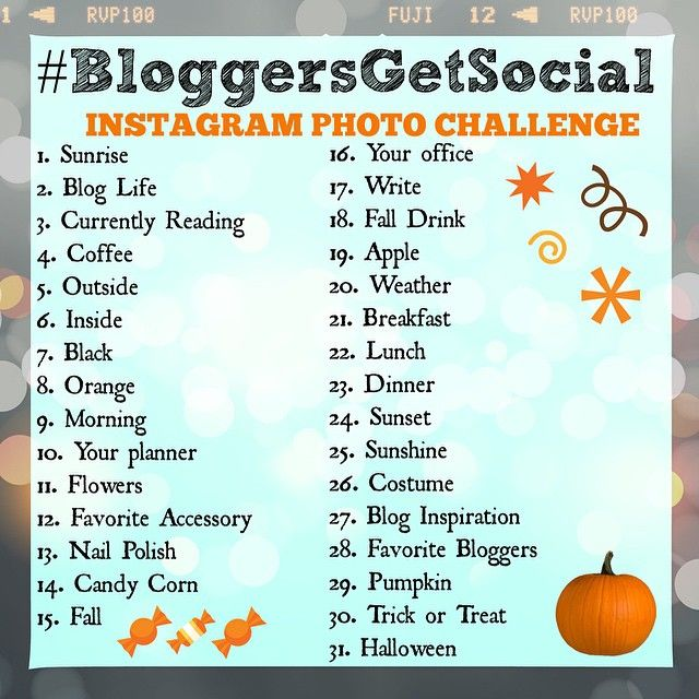 So...#October is almost here! Get ready for the first #bloggersgetsocial Photo Challenge! It starts Wednesday so save this photo and join in! Don't forget the #bloggersgetsocial hashtag!