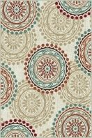 """This transitional area rug has double the pizazz with tone on tone and brightly colored motifs combined in one design. A versatile pattern for a plurality of interior design methods. Snowy ivory background with cranberry red, teal blue, ecru gold, mushroom taupe, espresso brown, and russet. Machine made of soft polypropylene that is naturally stain-resistant and easy to maintain. The three piece set includes a 5' x 7', 1'8"""" x 5' and a 1'8"""" x 2'8""""."""