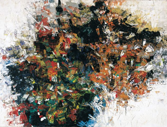 Jean Paul Riopelle, La Roue (Cold dog - Indian Summer), 1954-1955, huile sur toile, 250 x 300 cm. Follow the biggest painting board on Pinterest www.pinterest.com/atelierbeauvoir