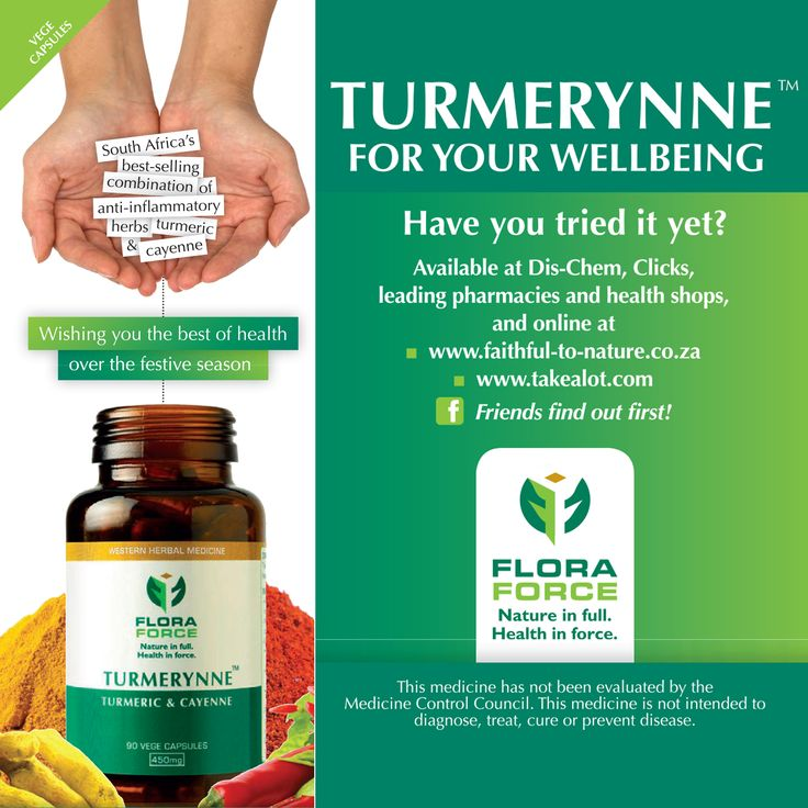 TURMERYNNE - For Your Wellbeing  Turmerynne is South Africa's best-selling combination of anti-inflammatory herbs, turmeric and cayenne!  Available at Dis-chem, Clicks, leading pharmacies and health shops and online at:  www.floraforce.co.za www.faithful-to-nature.co.za www.takealot.com