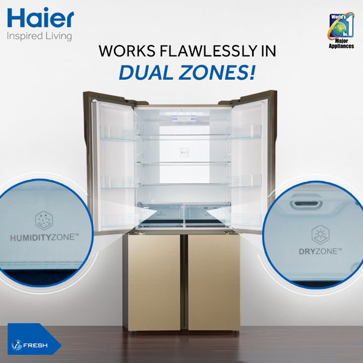 A #refrigerator that adapts to different levels of humidity! #Haier's #refrigerators with dual zone humidity control ensures smooth functioning in both dry and humid regions.