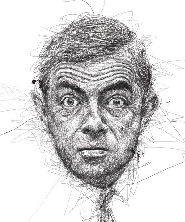 Desenhos rabiscados de rostos de celebridades por Vince Low