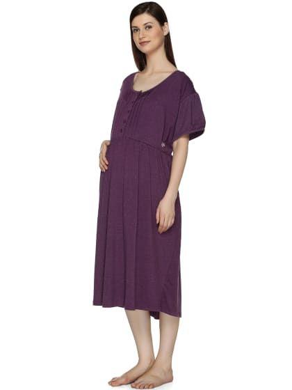 75ebdb18a5d05 Cotton Purple Midi Length Maternity Wear Nighty | Only on affela.wooplr.com  | Best Sleepwear Online