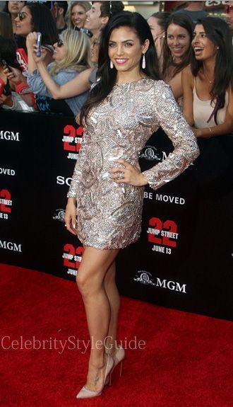 Jenna Dewan-Tatum Style and Fashion - Monique Lhuillier Rose Gold Long Sleeve Dress on Celebrity Style Guide