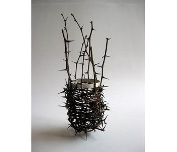Woven thorn and silver vessel. Stuart Cairns
