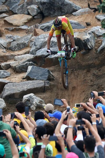 Carlos Coloma Nicolas of Spain rides during the Men's Cross-Country on Day 16 of the Rio 2016 Olympic Games at Mountain Bike Centre on August 21, 2016 in Rio de Janeiro, Brazil.