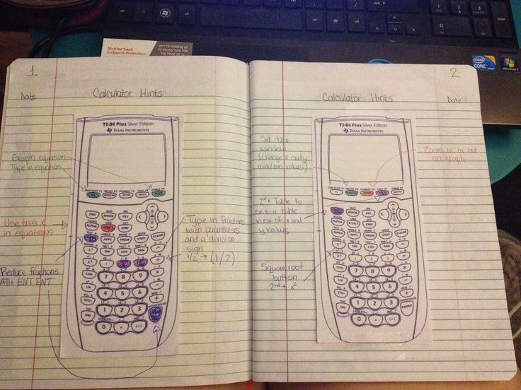 Going over basic functions on the calculator (one of the first pages in notebook)...template in link