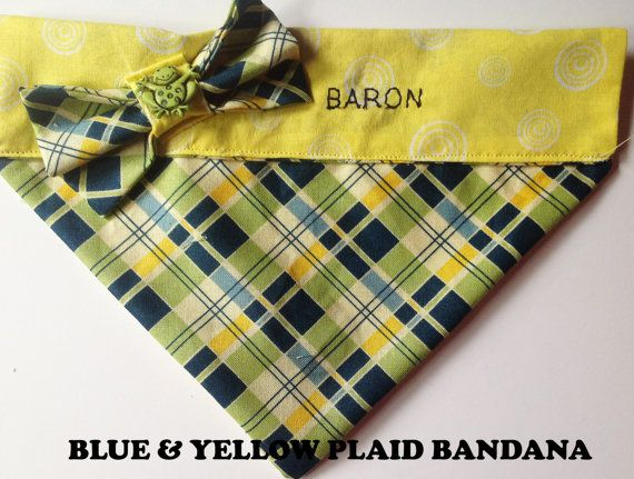 Blue Yellow & Green Argyle Embroidered Bandana by UppityPuppitys