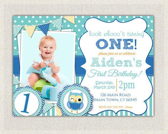 Boys 1st Birthday Invitation Blue Owl Printable Download First B Printable Birthday Invitations Birthday Invitations Free Printable Birthday Invitations