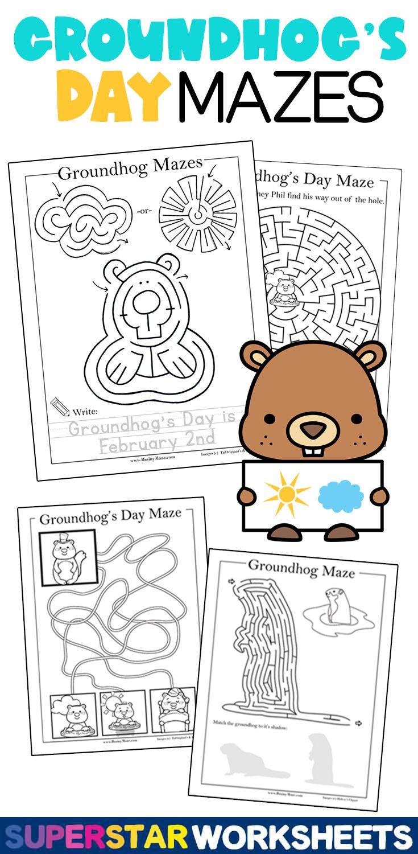 Groundhog S Day Mazes In 2021 Groundhog Day Activities Groundhog Day Kids Writing [ 1500 x 735 Pixel ]