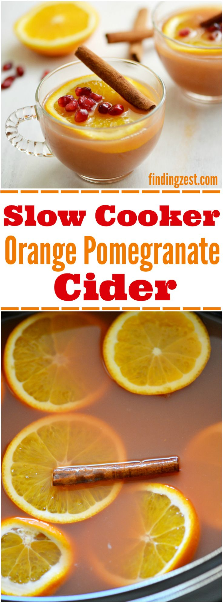 Slow Cooker Orange Pomegranate Cider: This easy apple cider recipe is a perfect holiday drink to serve guests!