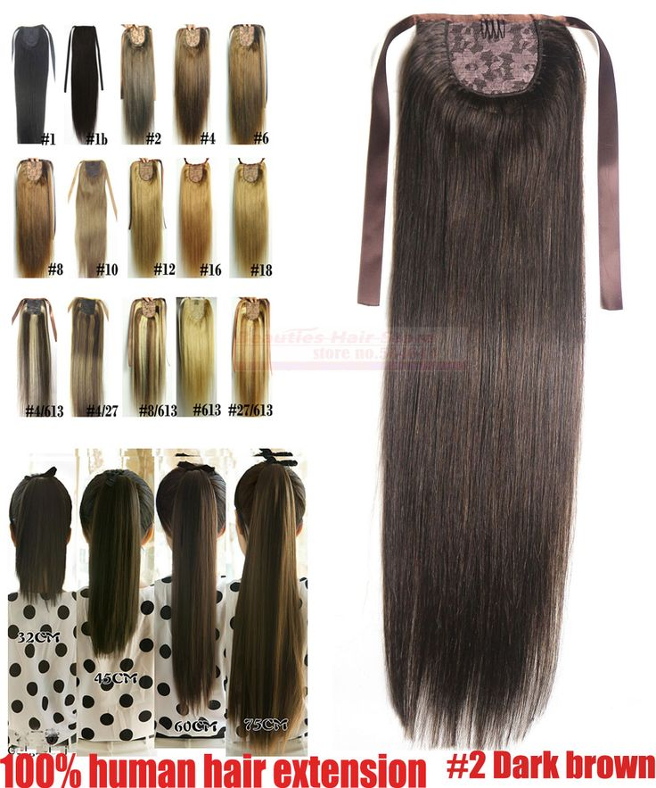 "16""18""20""22""24""26""28"" 100% Brazilian Remy Hair Clips In/on Human Hair Extensions Horsetail Ponytail #2 brown 80g 100g 120g 140g"