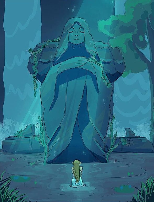 Botw Zelda praying at hylia statue link memories | legend of