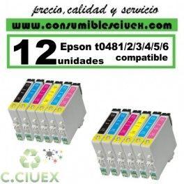 PACK 12 CARTUCHOS COMPATIBLES EPSON T0481/2/3/4/5/6 A ELEGIR COLOR