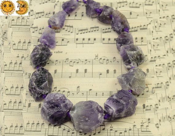 15.5 inch strand of natural Amethyst rough cut beads,nugget beads,deep purple color 17-18x21-28mm