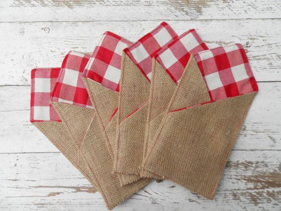 Burlap Gingham Silverware Holders   Set of 12 by MadeInBurlap