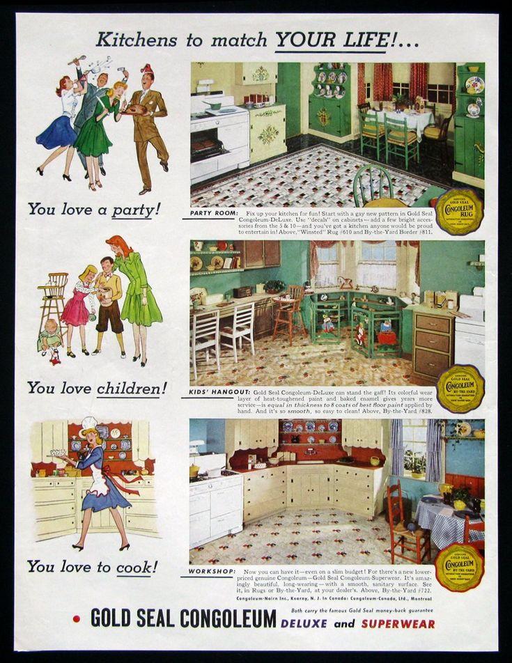 The Beautiful World of 1940s Linoleum Flooring Vintage