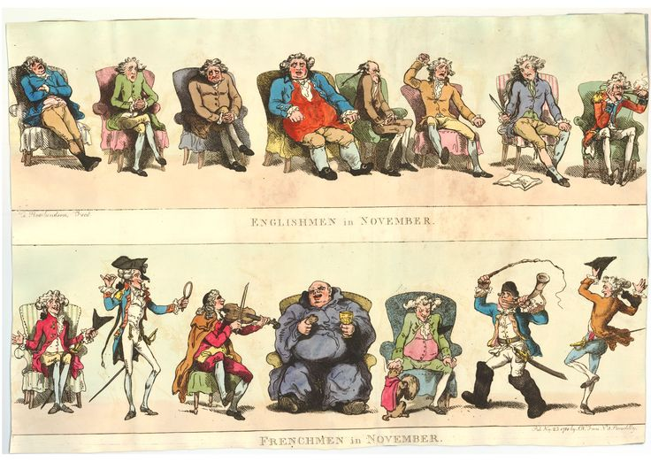 From British Museum: Contrast between the British and the French in November by Rowlandson. As the winter evenings draw in les Anglais sit around in their arm chairs being bored, while their French counterparts are having witty conversations, cavorting, playing musical instruments, imbibing the odd drink or three,  playing with their dog, joining the hunt, or going off to dance a jig!British Museum