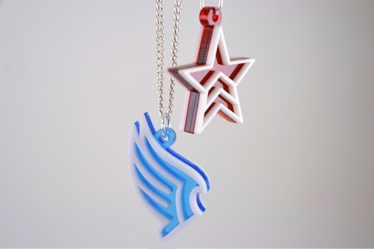 Mass Effect Paragon and Renegade Friendship Necklaces - Laser Cut Acrylic. $20.00, via Etsy.