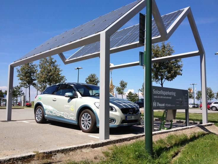 Solar powered charging at parking lot in Västra hamnen, Malmö.