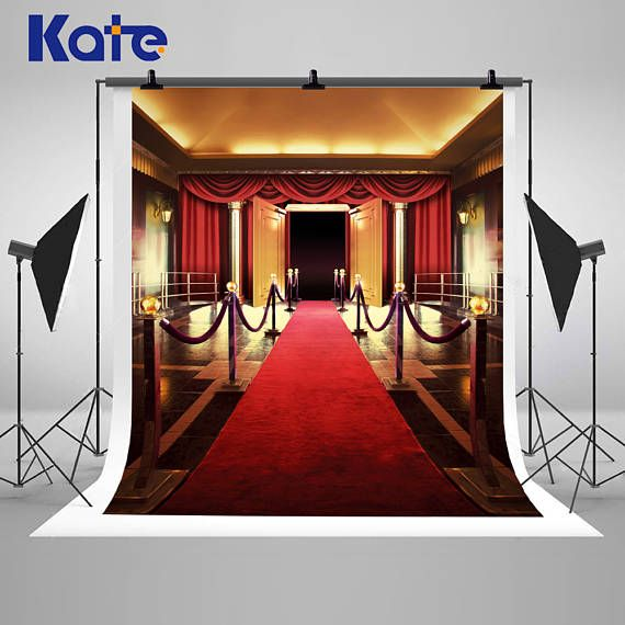 Red Carpet Curtains Stage Photography Backdrops No Wrinkles