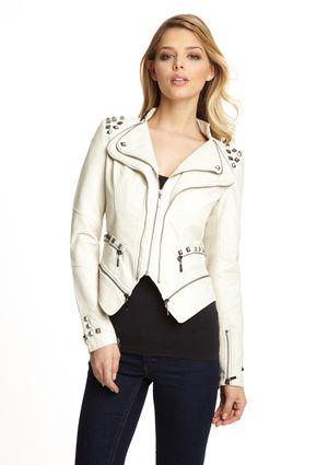 TCEC Double Lapel Faux Leather Jacket